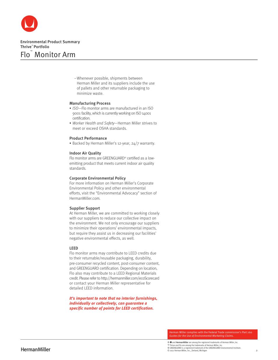 Monitor Arm Herman Miller Flo Monitor Supports Environmental