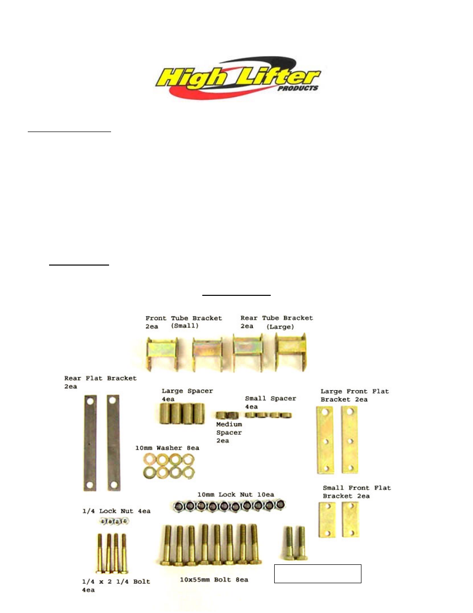 High Lifter Lift Kit for Suzuki Eiger 400 2x4, 4x4 (02-07) User Manual | 5  pages