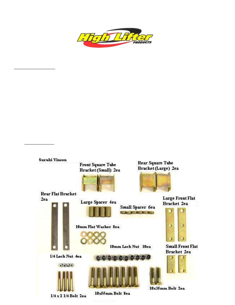 High Lifter Lift Kit for Suzuki Vinson 500 with Tie Rods User Manual | 7  pages