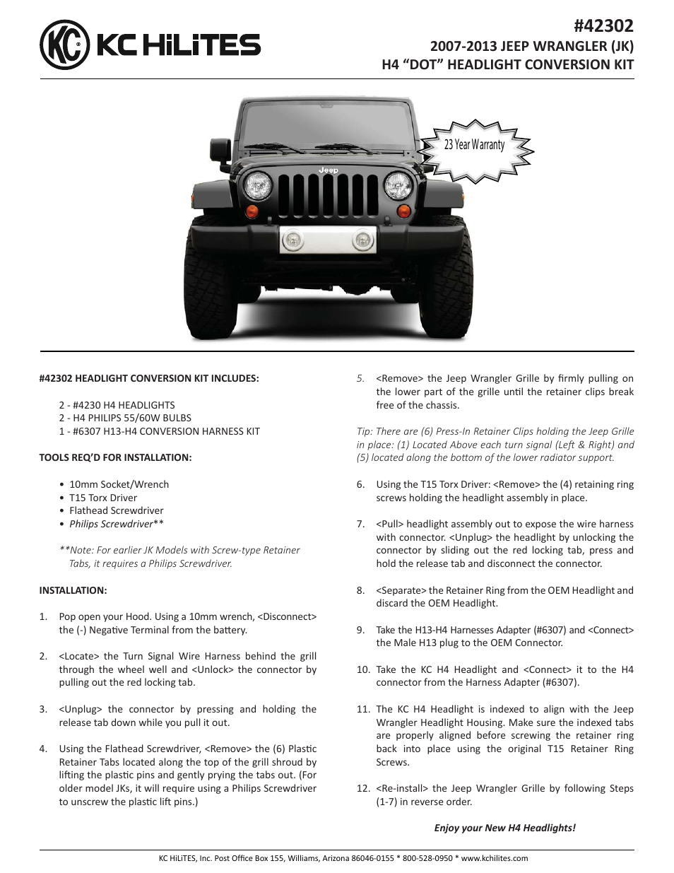 Jeep Tj Wire Harness Retainer Wiring Diagram Libraries Kc Lights Wrangler Librarykc Hilites 42302 2007 2013 Jk