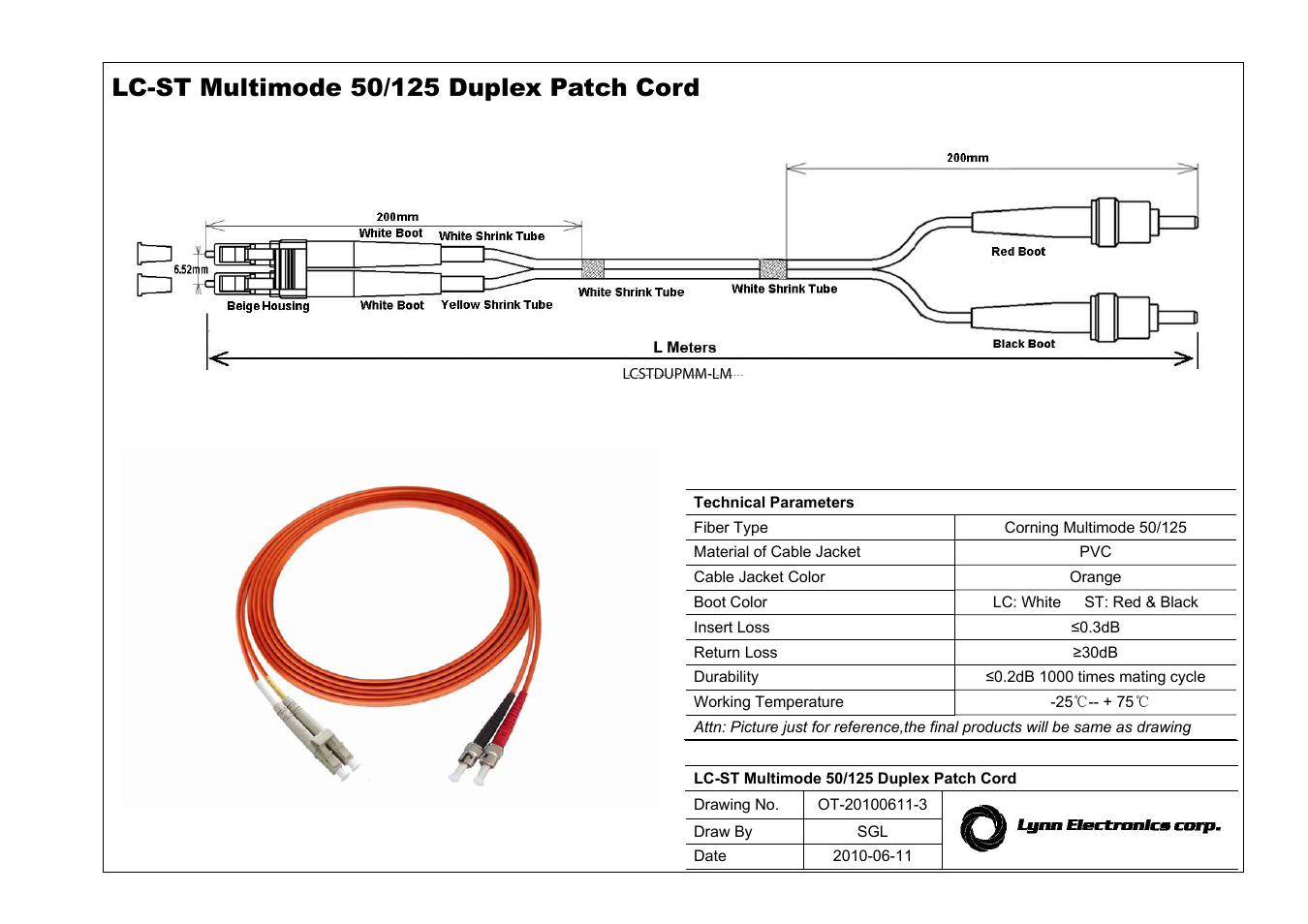 Lynn Electronics Lc St 50 125 Om2 Multimode Fiber Patch Cables User Cable Diagram Manual 1 Page