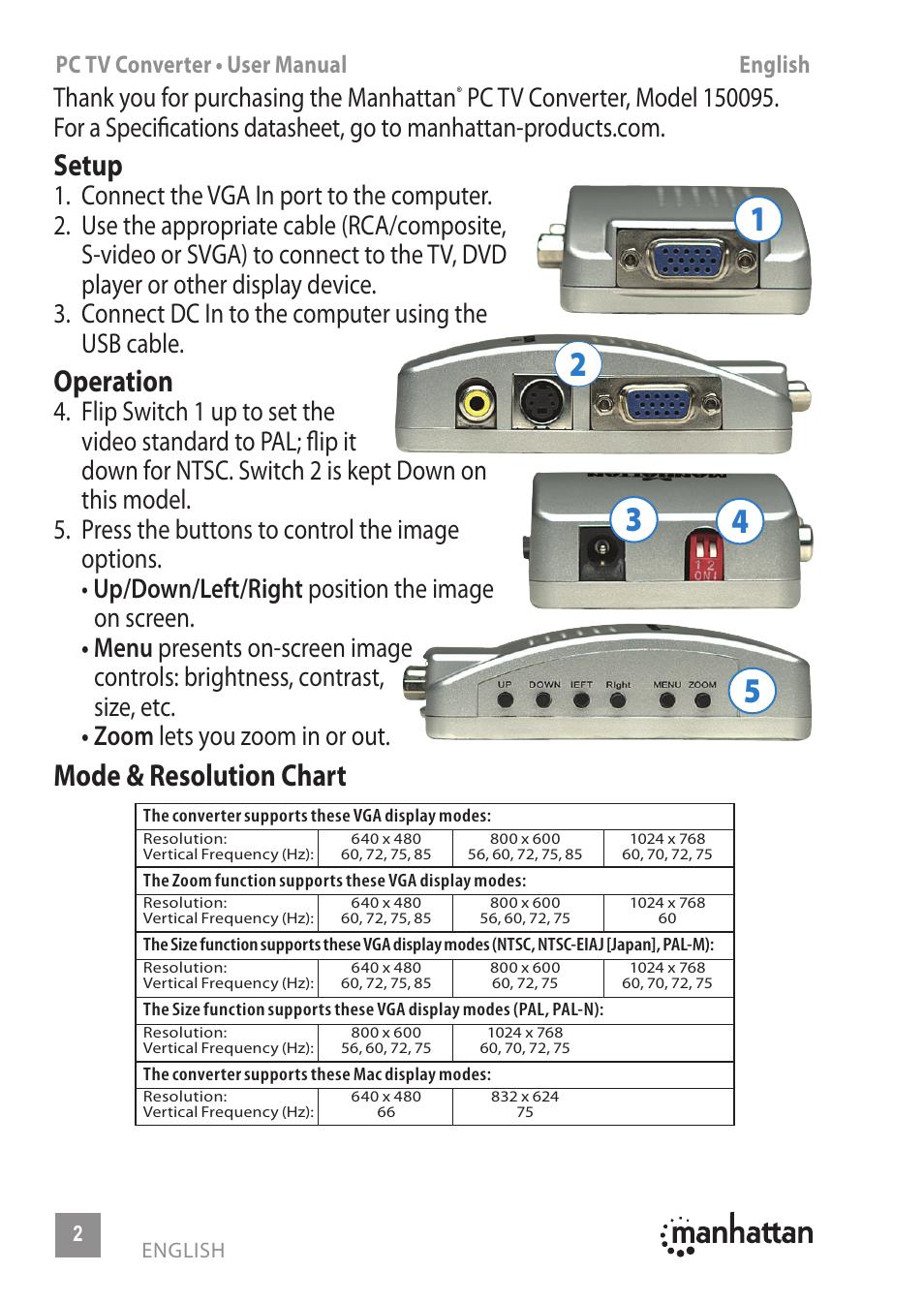 Setup, Operation, Mode & resolution chart | Manhattan 150095 PC TV  Converter - Manual (Multi) User Manual | Page 2 / 12