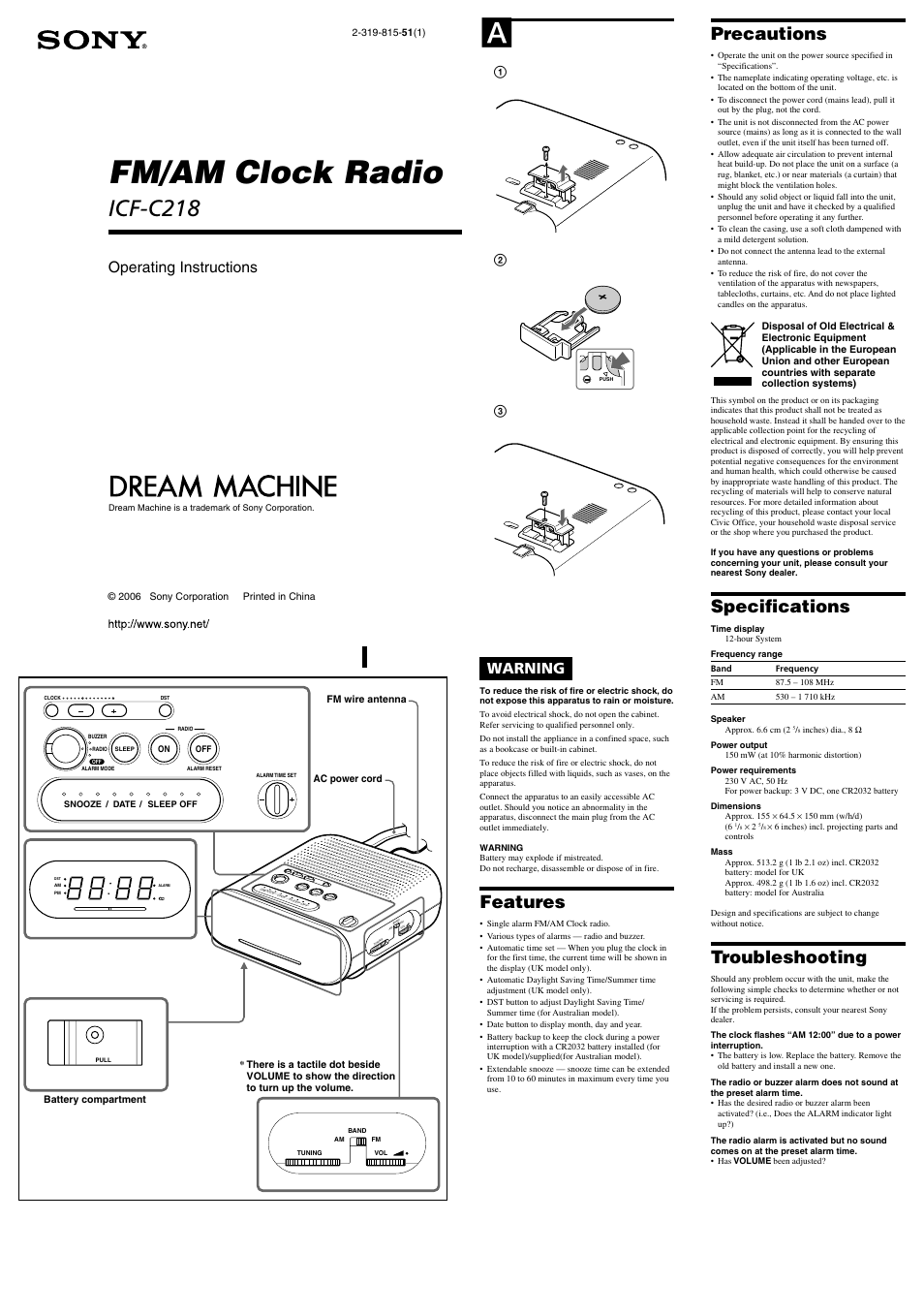 sony icf c218 user manual 2 pages also for dream machine icf c218 rh manualsdir com sony dream machine icf-c218 instructions sony dream machine auto time set icf c218 manual