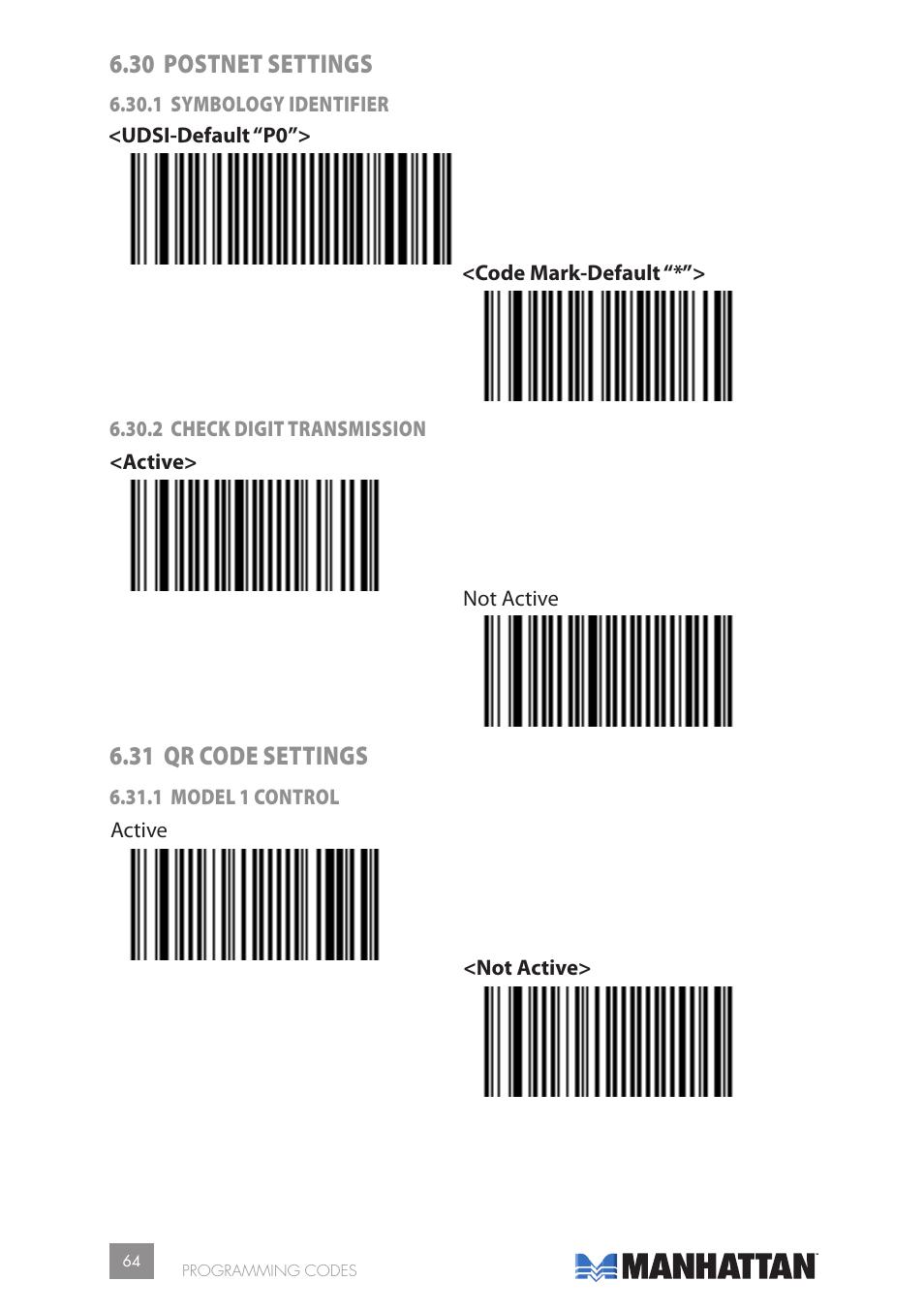 30 postnet settings, 31 qr code settings | Manhattan 177603