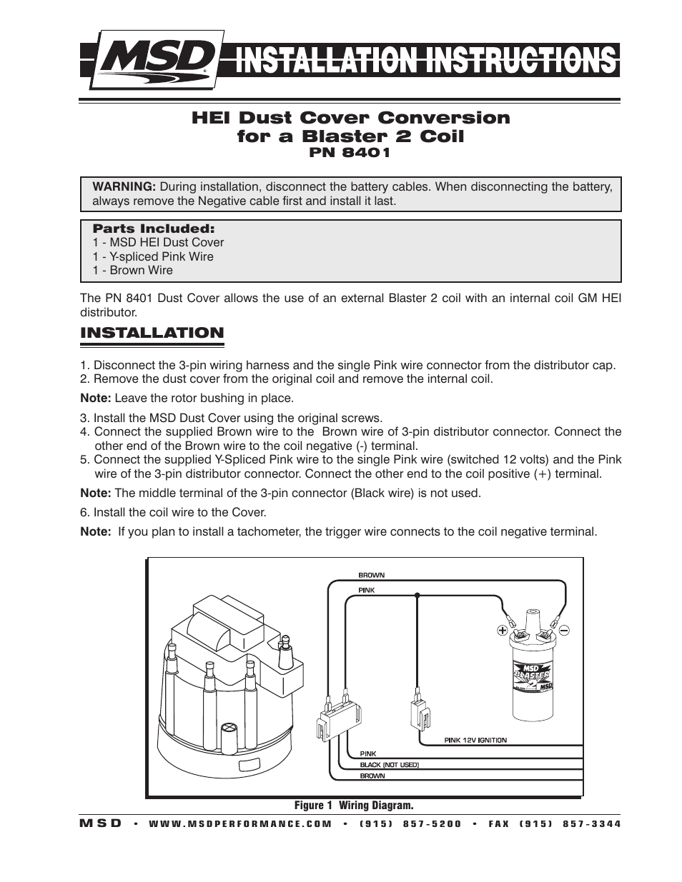 MSD 8401 Modified HEI Coil Dust Cover V8 Installation User Manual | 2 pages