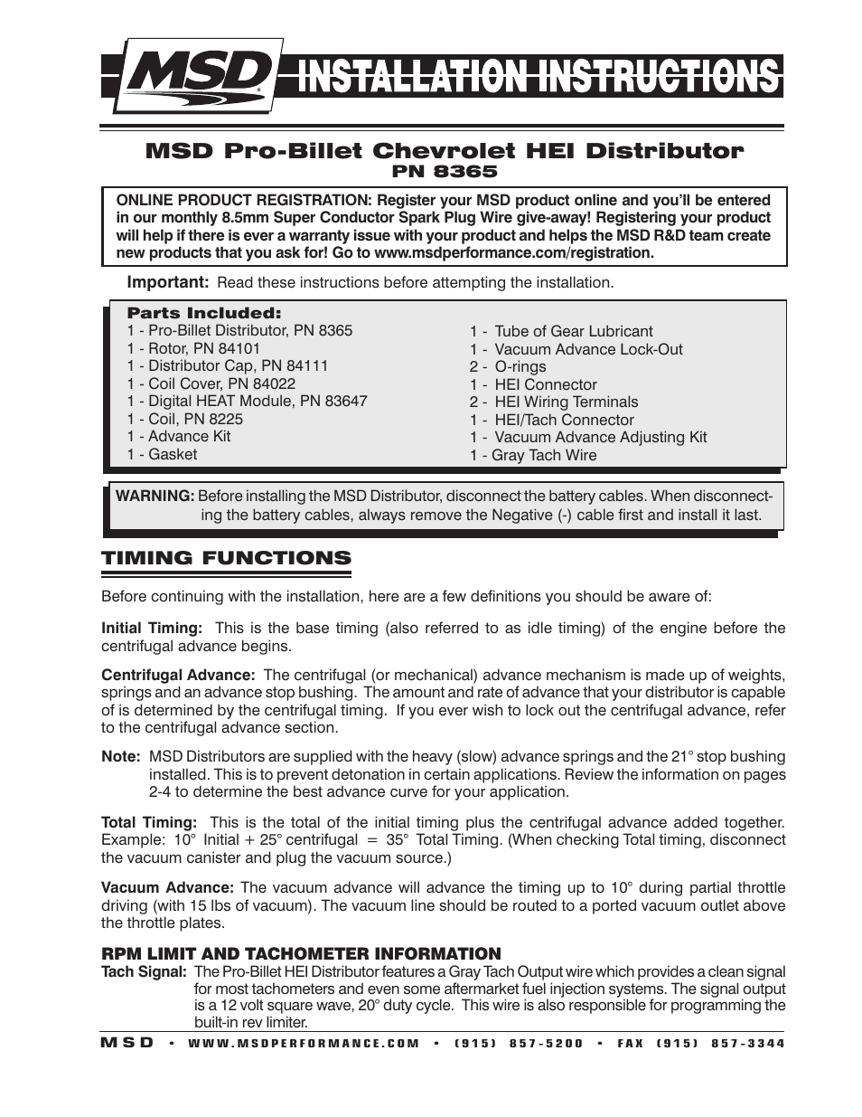 Msd 8365 Gm Hei Billet Distributor Installation User Manual 8 Pages Pro Cycle Tach Wiring Diagram