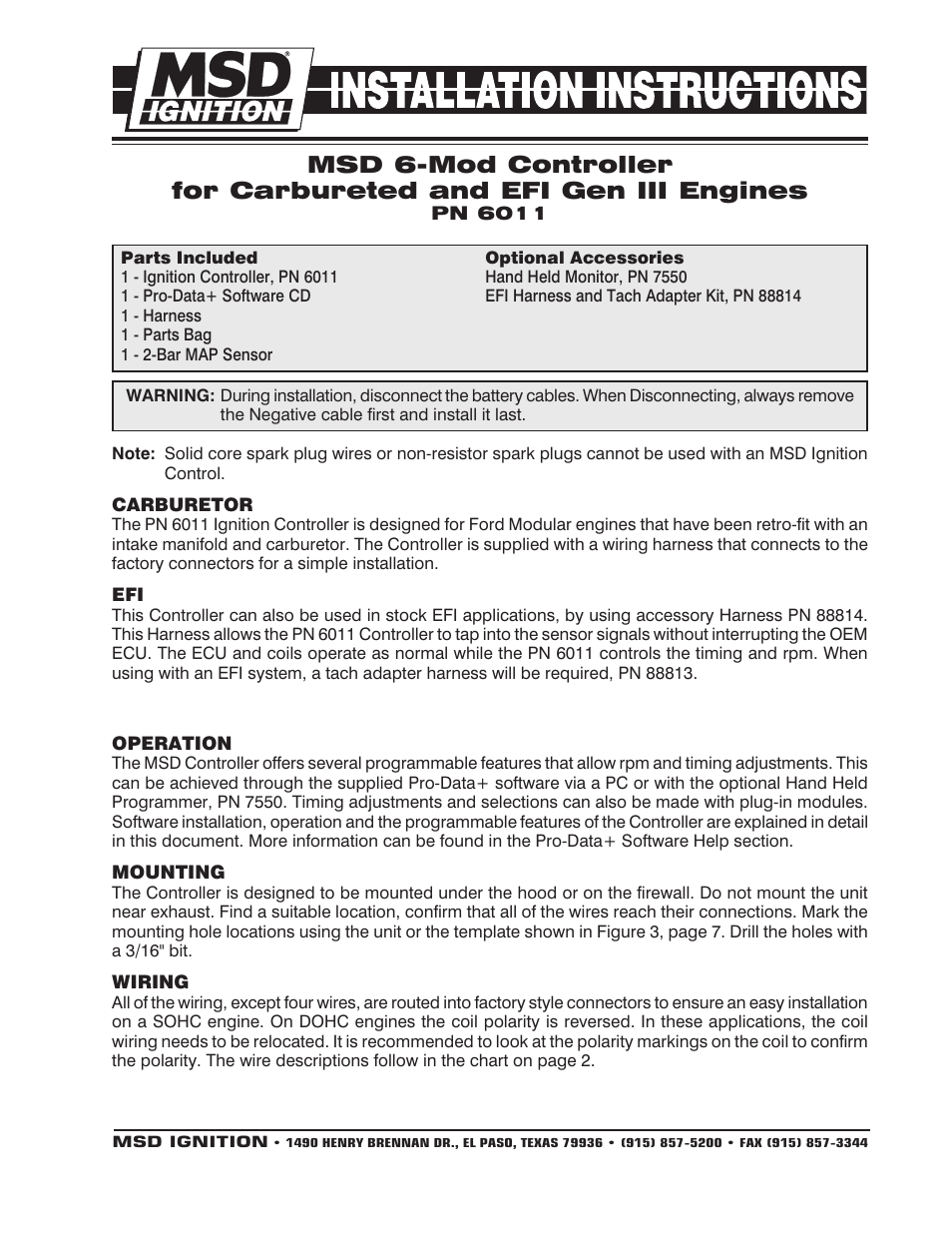 Msd 6011 Ford Modular Ignition Controller For 46l 54l Installation Engine Wiring Harness User Manual 8 Pages