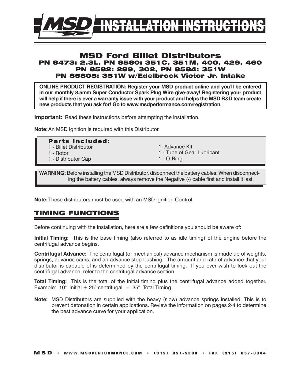 MSD 85805 Ford 351W w_Edelbrock Victor Jr Billet Distributor