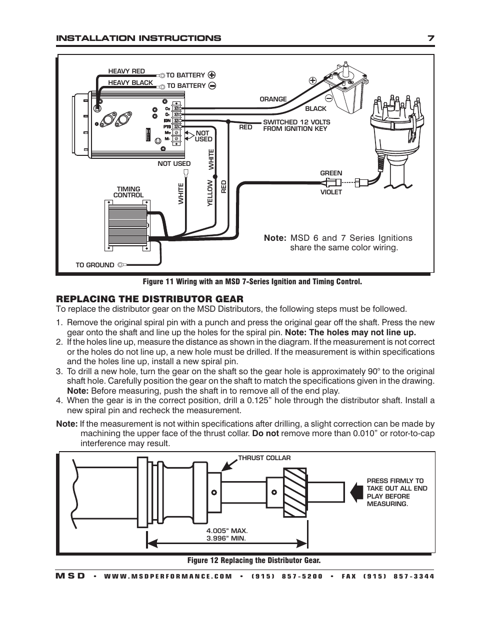 Replacing The Distributor Gear Msd 85805 Ford 351w W Edelbrock Wire Diagram 7 Victor Jr Billet Installation User Manual Page 8