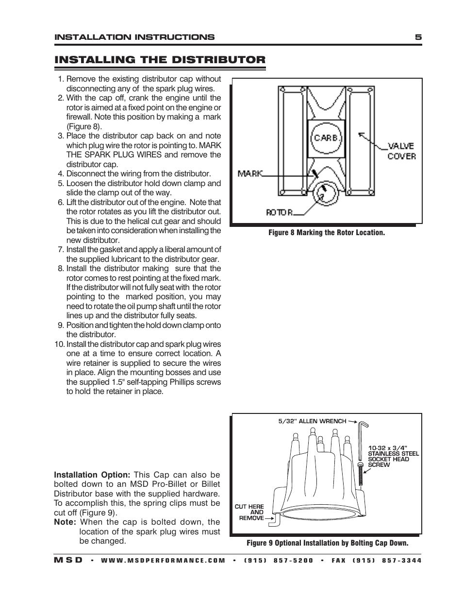 MSD 8363 Cadillac V8 Distributor w_Vacuum Advance Installation User Manual  | Page 5 / 8