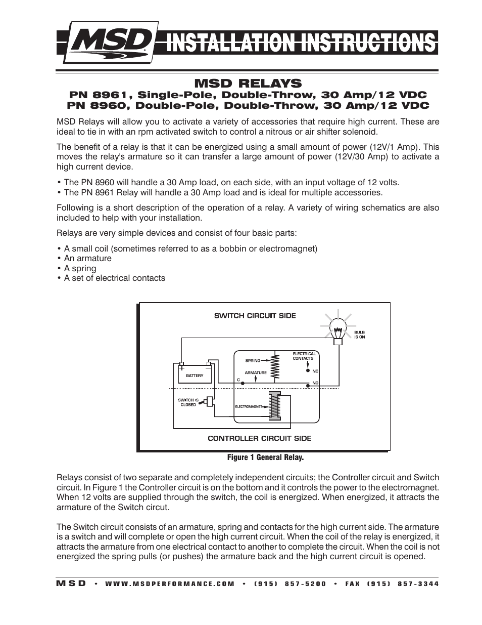Msd 8961 High Current Relay  Spst Installation User Manual