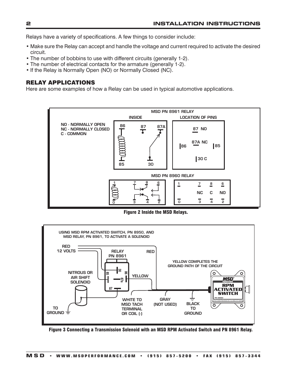 Relay Applications Msd 8961 High Current Spst Installation Wiring Diagram In Parrallel User Manual Page 2 4