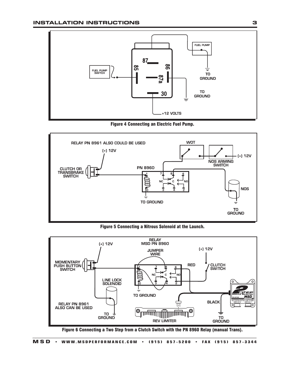 Msd 8961 High Current Relay Spst Installation User Manual Page 3 Dpdt Switch Wiring Diagram In Addition With Spdt 4 Also For 8960 Dpst