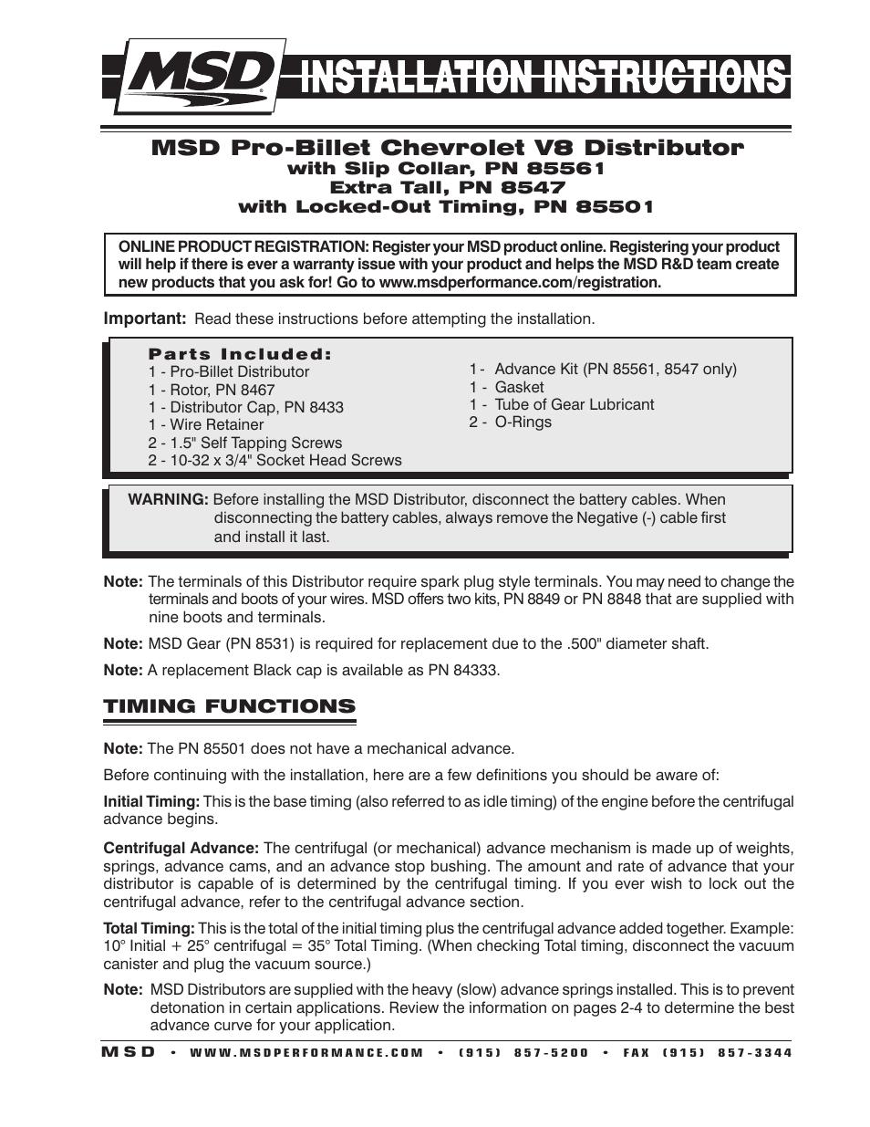 Msd Distributor 85561 Wiring Diagram Chevy Pro Billet Installation User Manual 954x1235