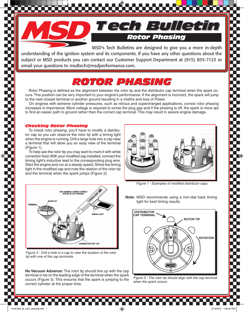 Msd 84211 Rotor Phasing Kit For Msd Distributors Tech