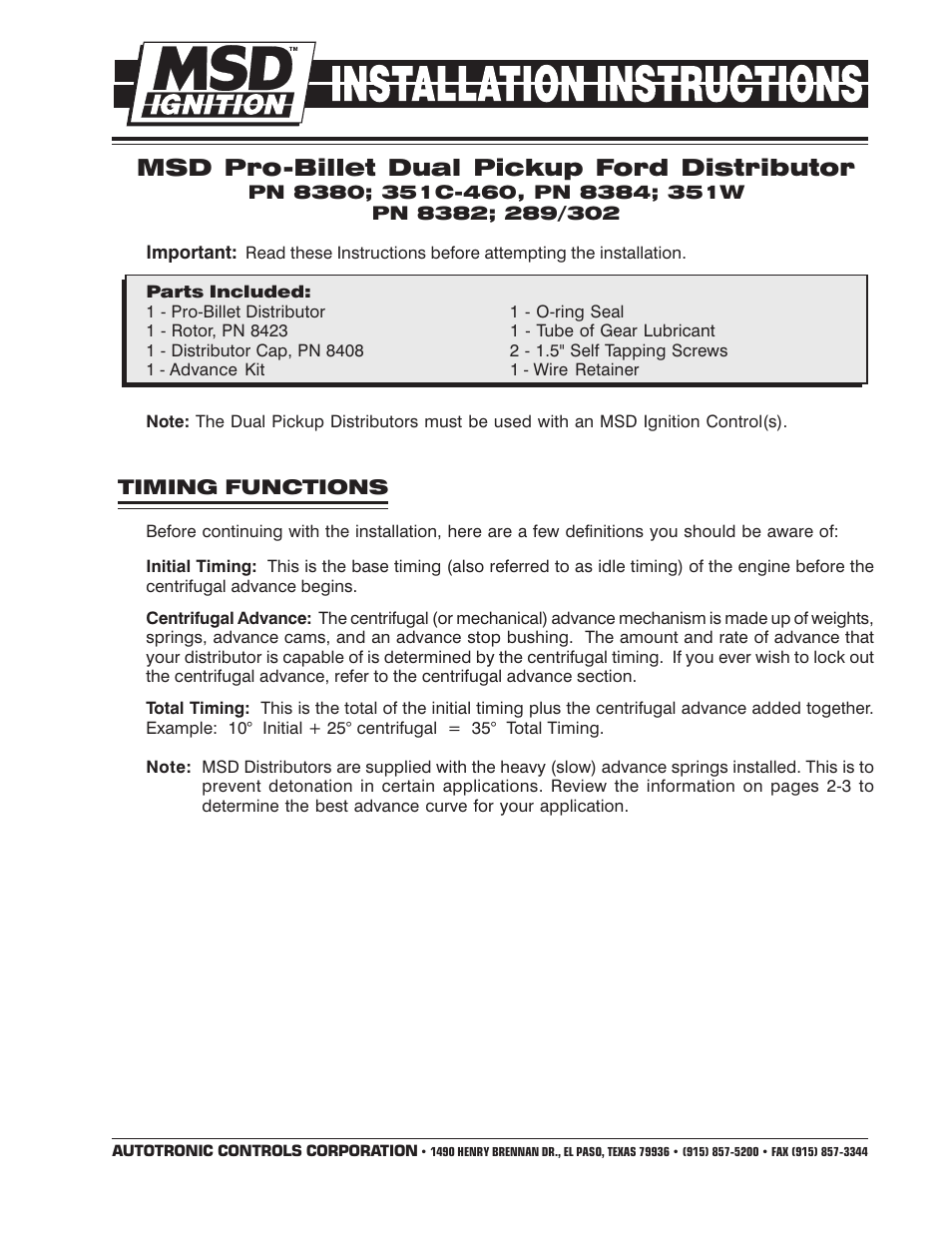 msd 8384 ford 351w dual pickup distributor installation page1 msd 8987 wiring diagram msd digital 6 wiring diagram \u2022 indy500 co msd 8987 wiring diagram at gsmx.co