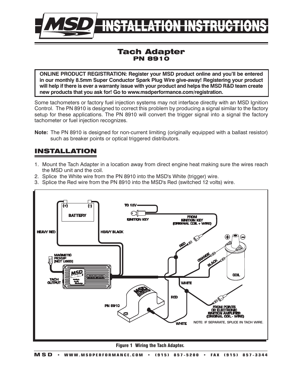 Msd 8910 Tach Adapter Installation User Manual
