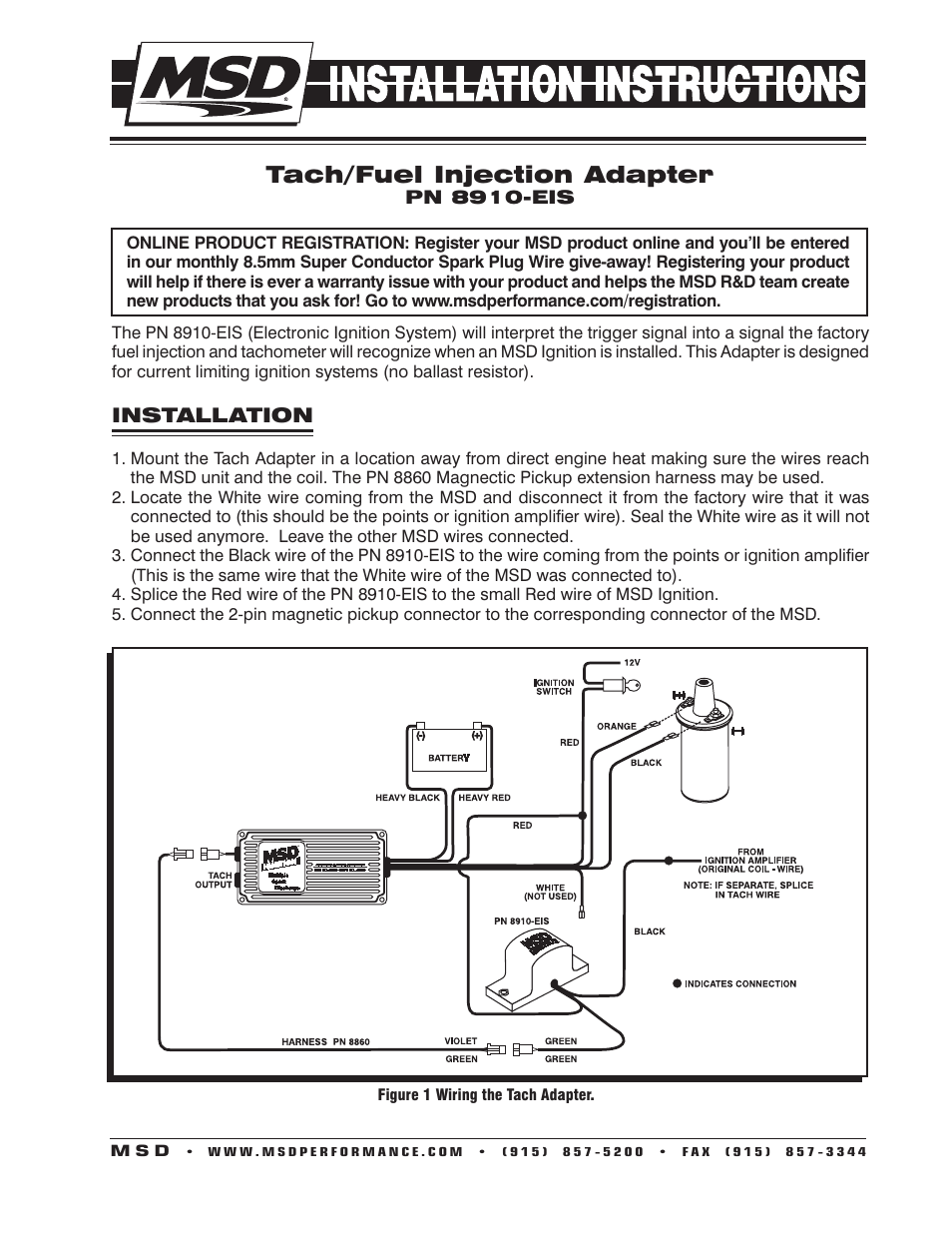 Msd Tach Wiring Diagram Detailed Diagrams 6al Ignition 8910 Eis Adapter Installation User Manual 2 Pages