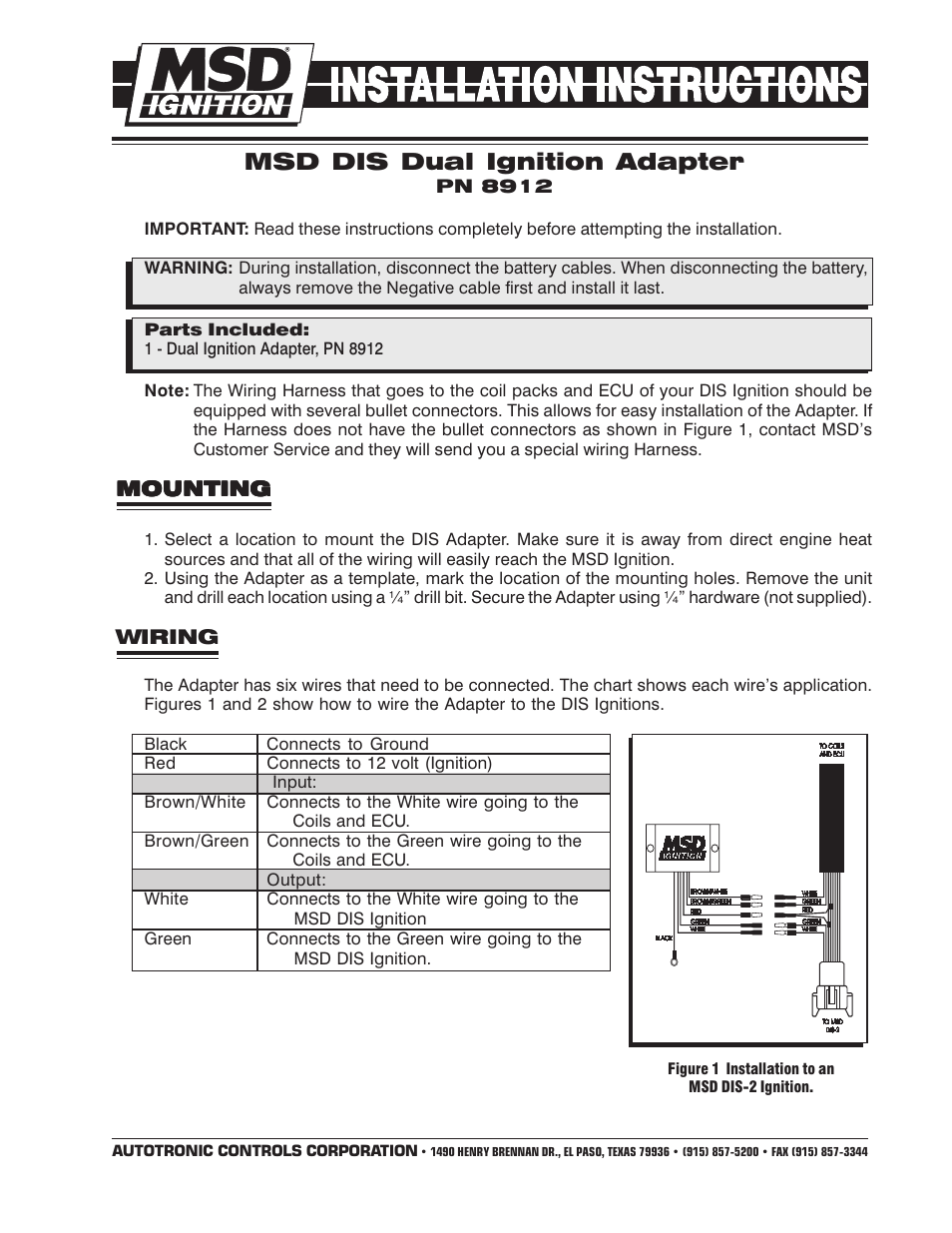 Msd 8912 Tach Adapter For Dis 2 And 4 Ignitions Installation Show Wiring Harness User Manual Pages