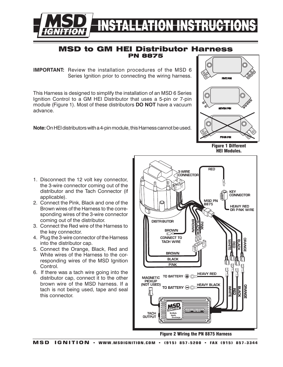 Gm Hei Tach Wiring Quick Start Guide Of Diagram Msd 8875 Harness Installation User Manual 2 Pages Rh Manualsdir Com Distributor