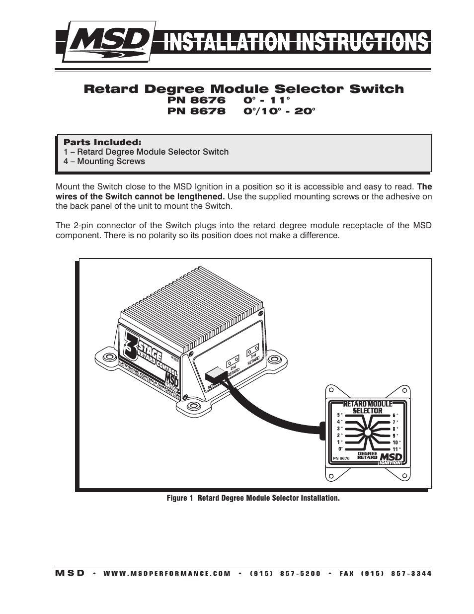 Msd 8676 Wiring Diagram Expert Diagrams 6al Retard Box Free Download 8678 Selector Switch 0 10 20 Installation User Manual 5