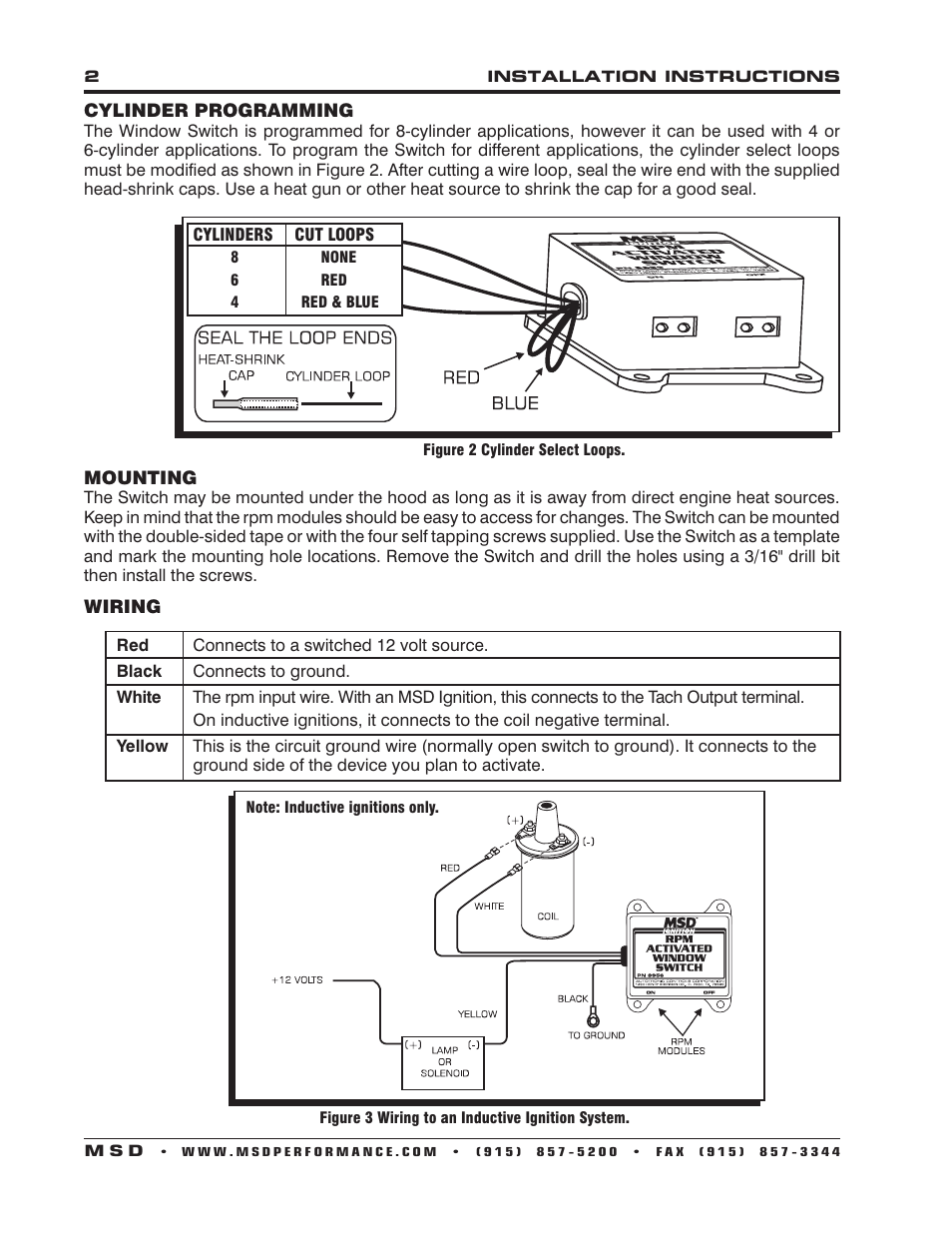 MSD 8956 Window RPM Activated Switch Installation User Manual | Page ...