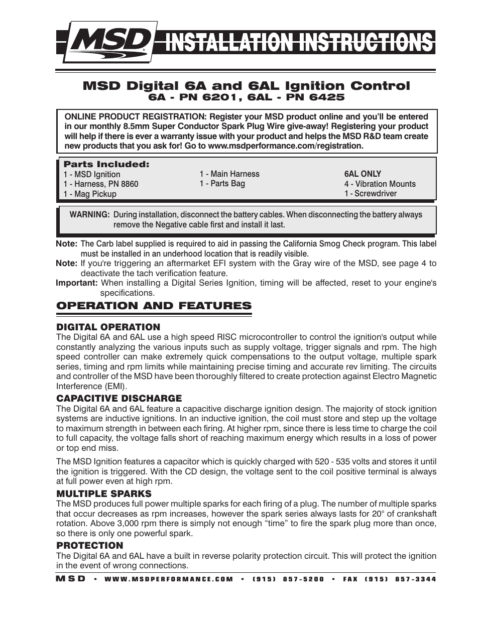 Msd 6201 Digital 6a Ignition Control User Manual