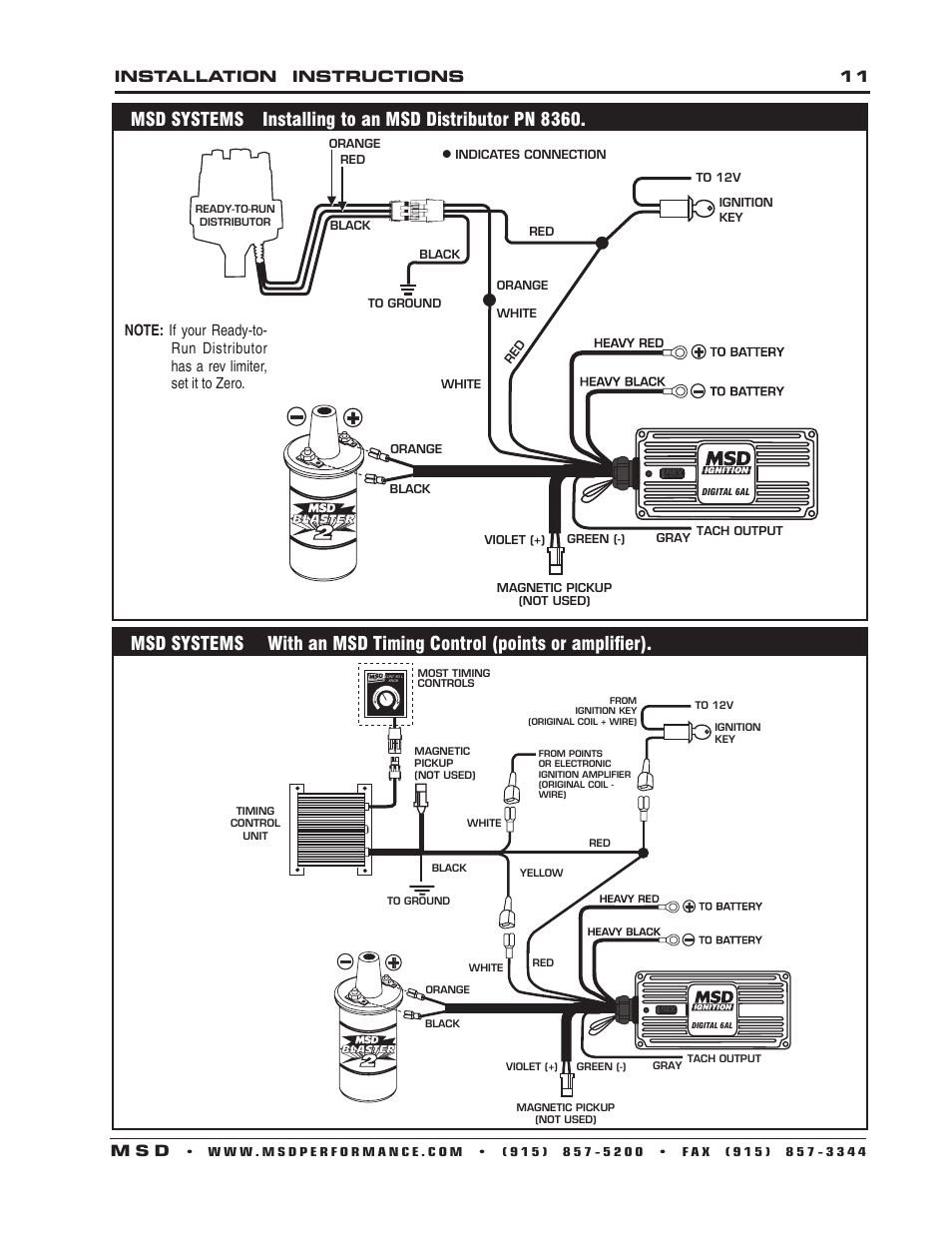 Installation Instructions 11 M S D Msd 6201 Digital 6a Ignition Tach Wiring Control User Manual Page 20