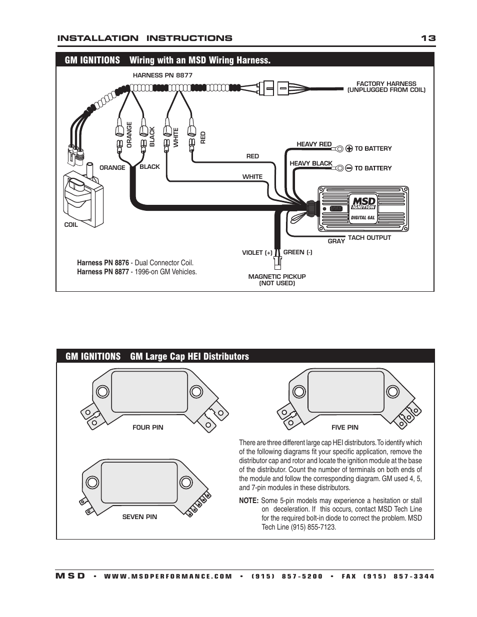 Gm Ignitions Wiring With An Msd Harness For Vehicles Large Cap Hei Distributors 6201 Digital 6a Ignition Control User Manual Page 13 20