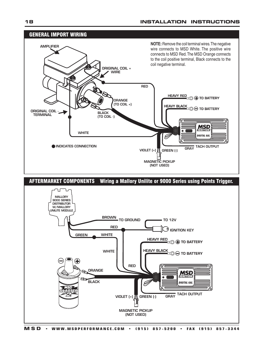 MSD 6201 Digital 6A Ignition Control User Manual | Page 18 ... A Mallory Unilite To Msd Al Wiring Diagram on