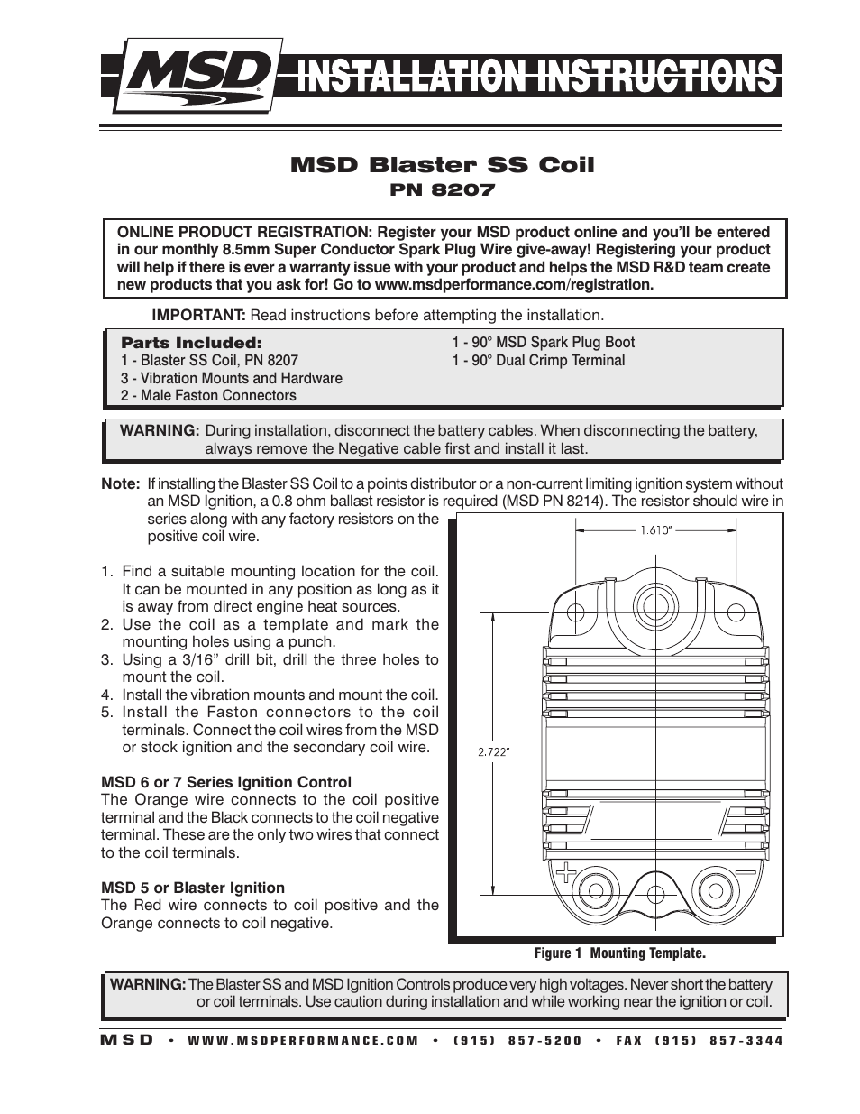 msd 8207 blaster ss coil installation user manual 2 pages