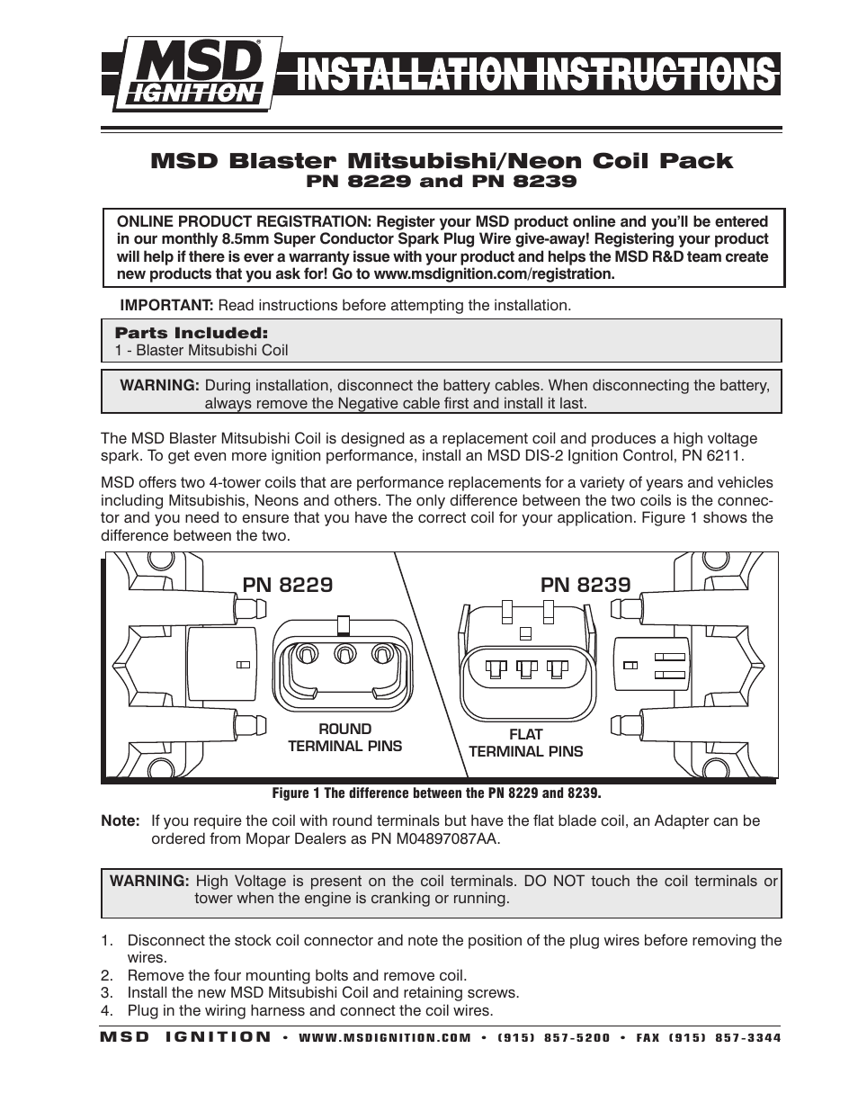 Dodge Coil Connector Wiring Library Terminals Msd 8239 Mitsubishi 1996 On Installation User Manual 2 Pages