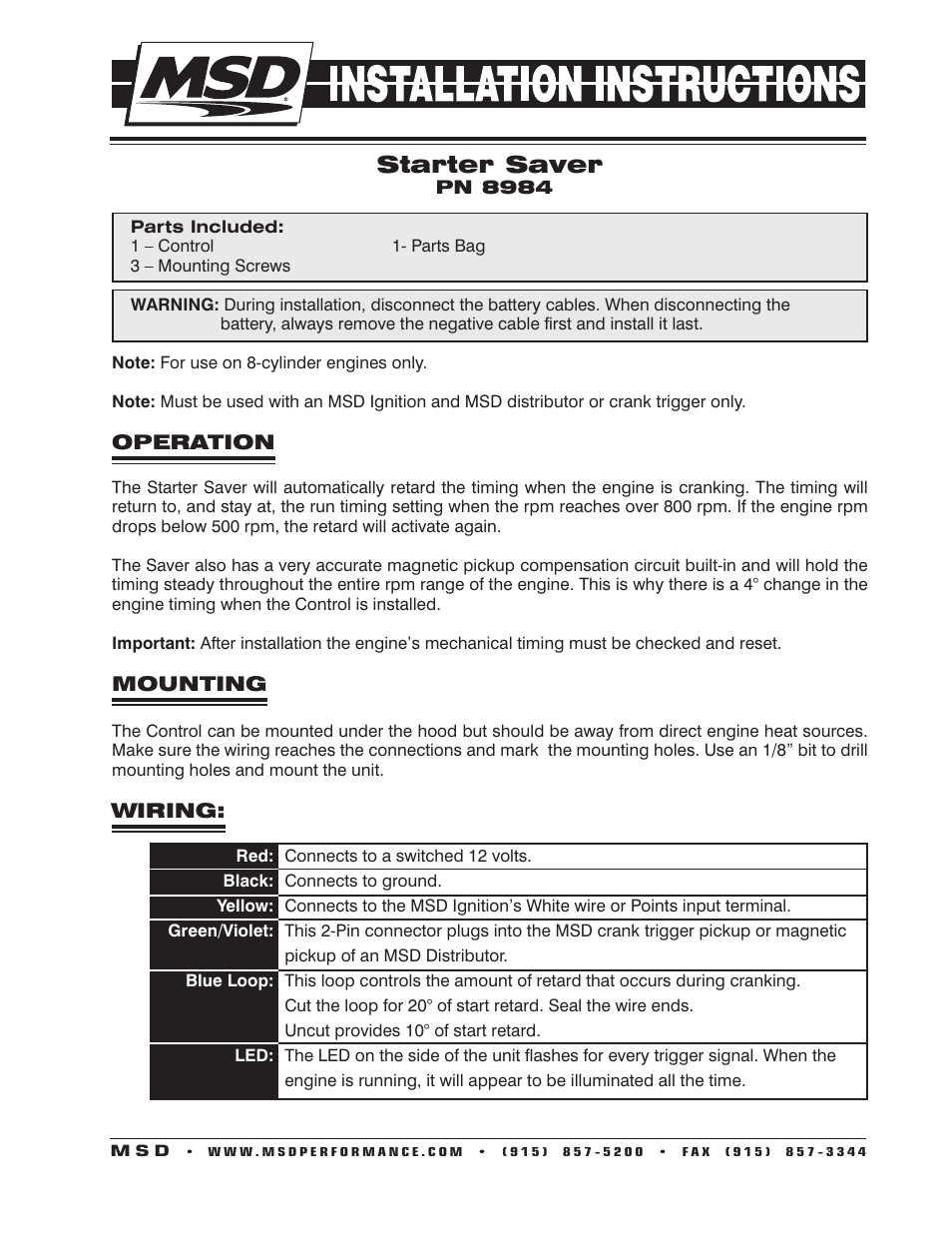 Msd 8984 Starter Saver W Signal Stabilizer Installation User Manual 2 Pages