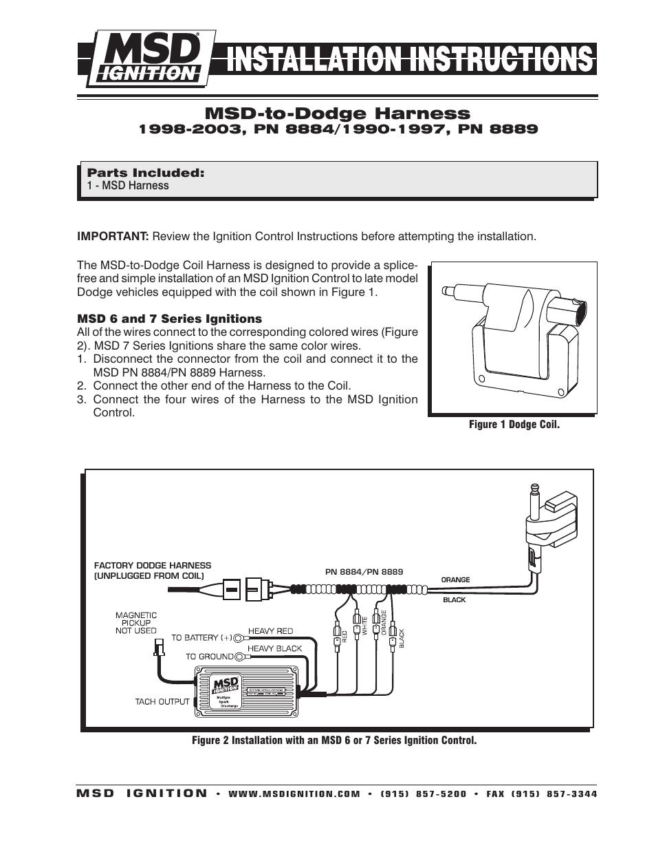 msd 8889 harness msd to 90 95 dodge ram 5 2 5 9l installation user rh manualsdir com