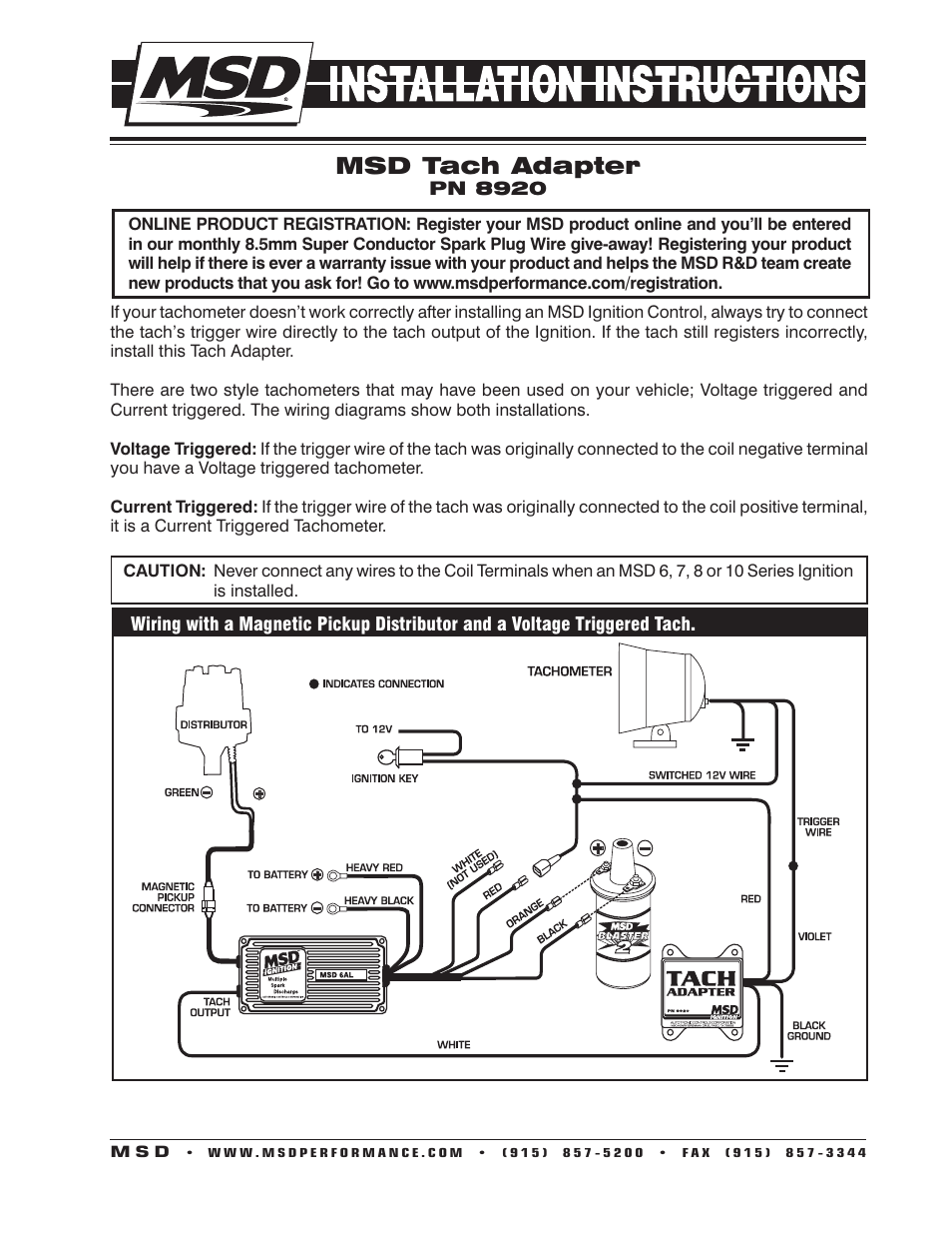 Msd 8920 Tach Adapter  Magnetic Trigger Installation User