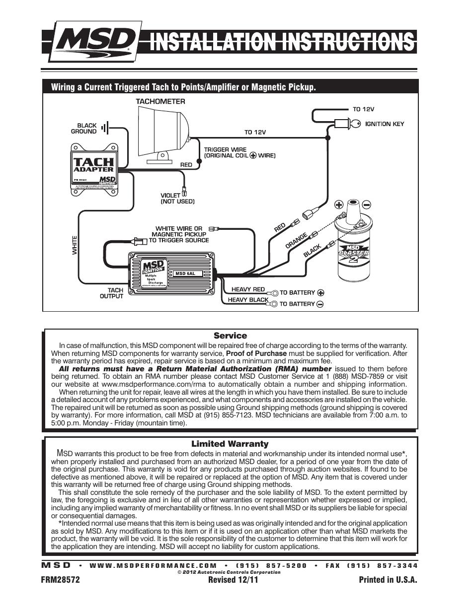 Msd 8920 Tach Adapter  Magnetic Trigger Installation User