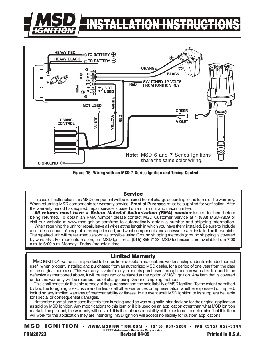 Msd 8572 Distributor Wiring Diagram Application For 6aln Corvette V8 Tach Drivedistributor W Vacuum Advance Rh Manualsdir Com 6430 3 Step