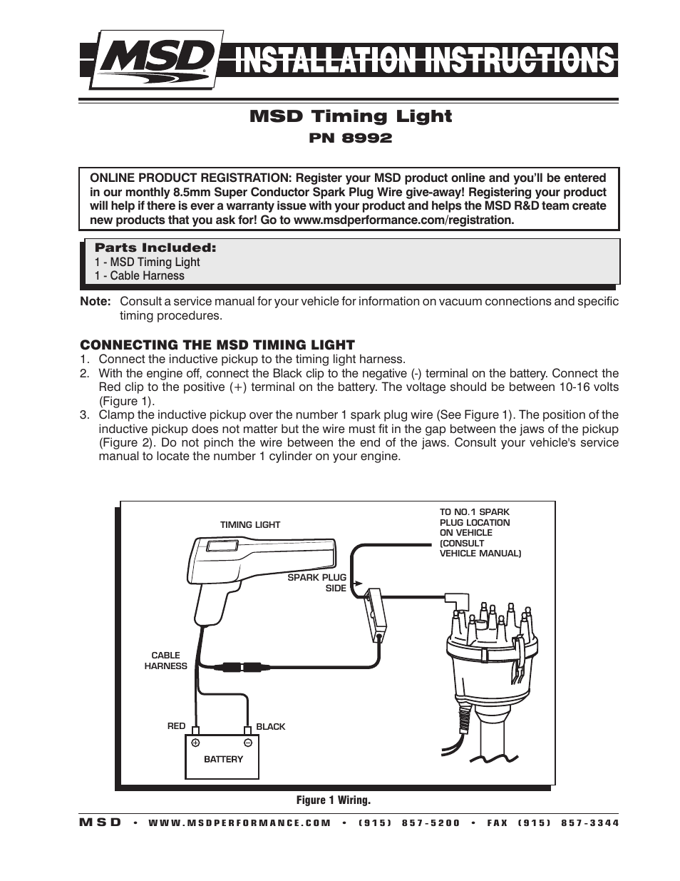 msd 8992 timing pro timing light installation user manual 4 pages Basic Light Wiring Diagrams