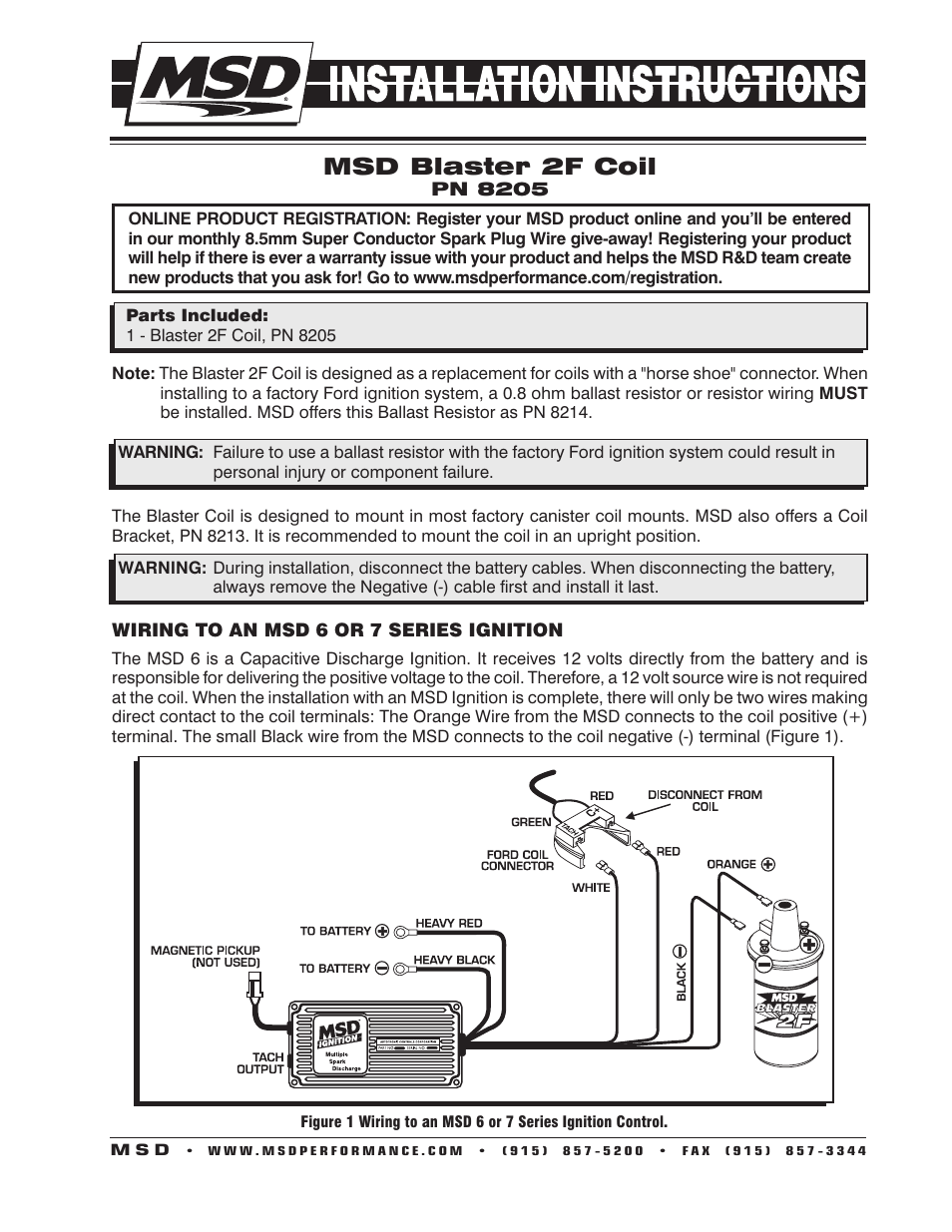 Msd Blaster 2 Ignition Coil Wiring Trusted Diagrams Diagram 8205 Ford High Performance Installation User