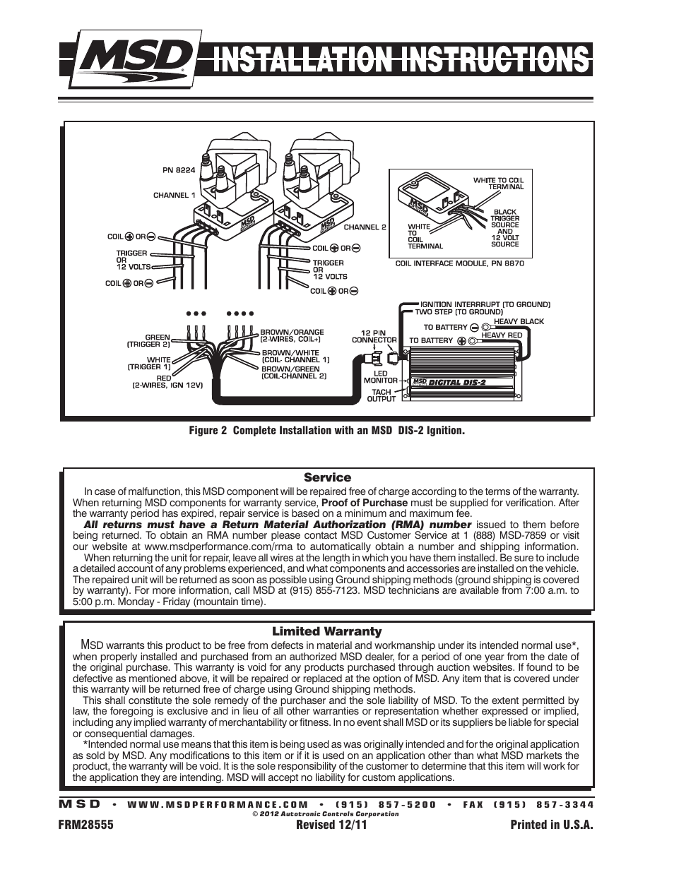 Msd 8224 Gm Coil Pack 2 Tower Style Installation User Manual Page Wiring Diagram