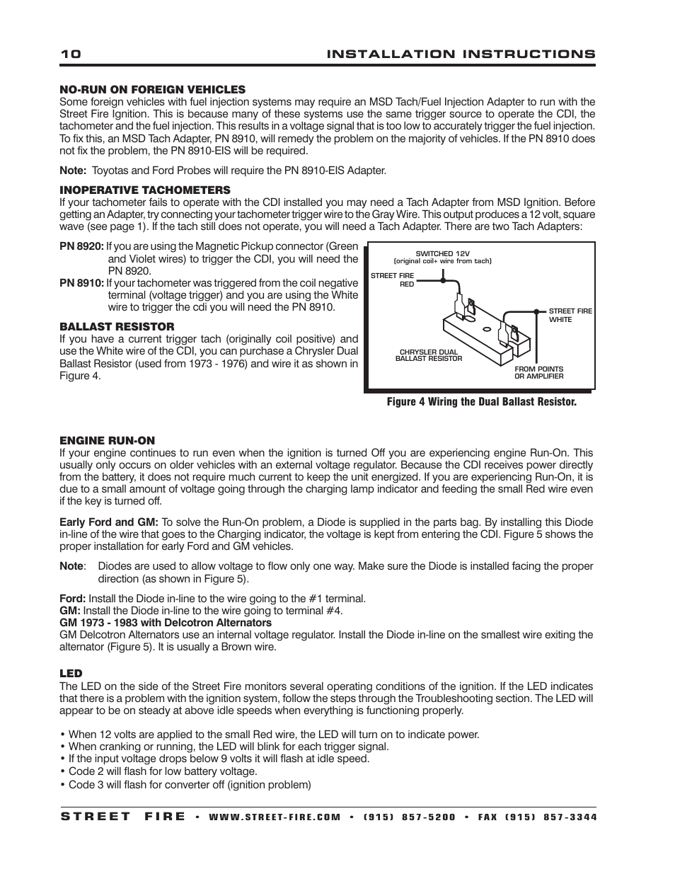 MSD 5520 Street Fire Ignition Control Installation User Manual