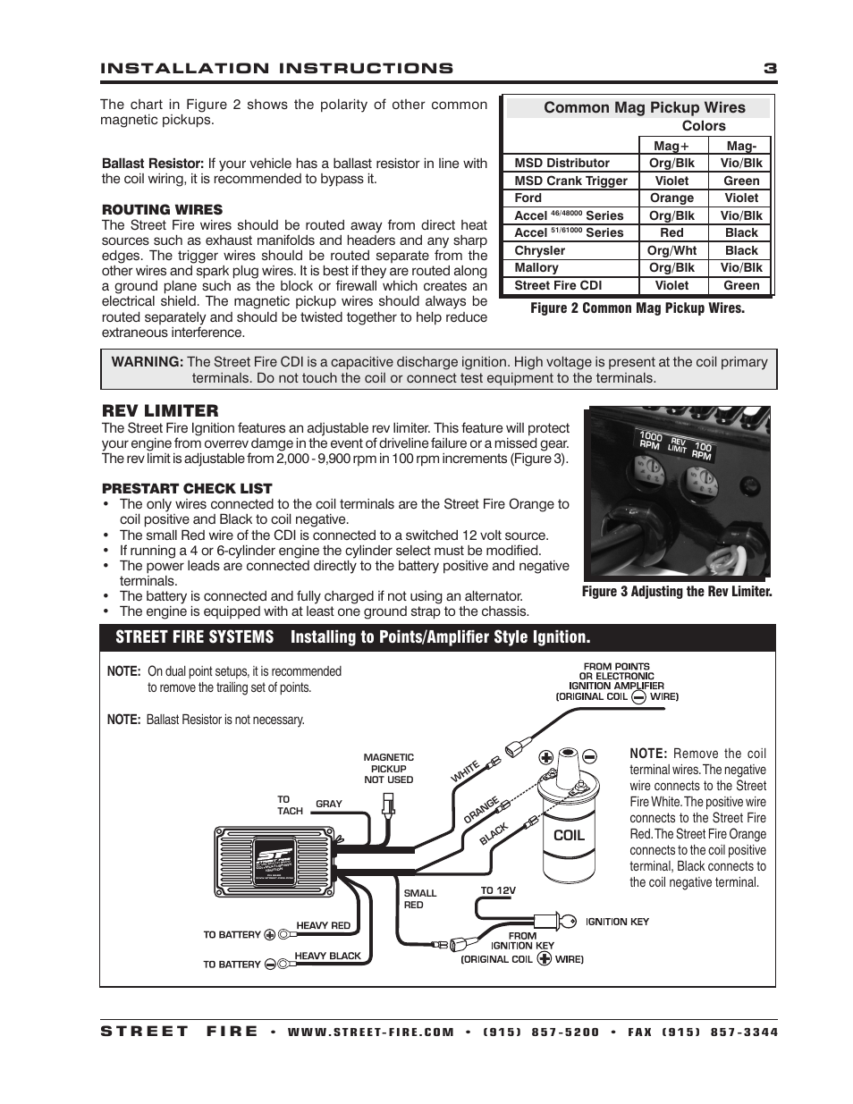 Mallory High Fire Wiring Diagram With Rev Limiter Library Common Mag Pickup Wires Msd 5520 Street Ignition Control Installation User