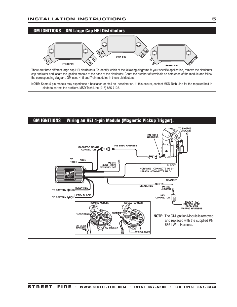 Gm ignitions gm large cap hei distributors | MSD 5520 Street Fire Ignition  Control Installation User Manual | Page 5 / 12