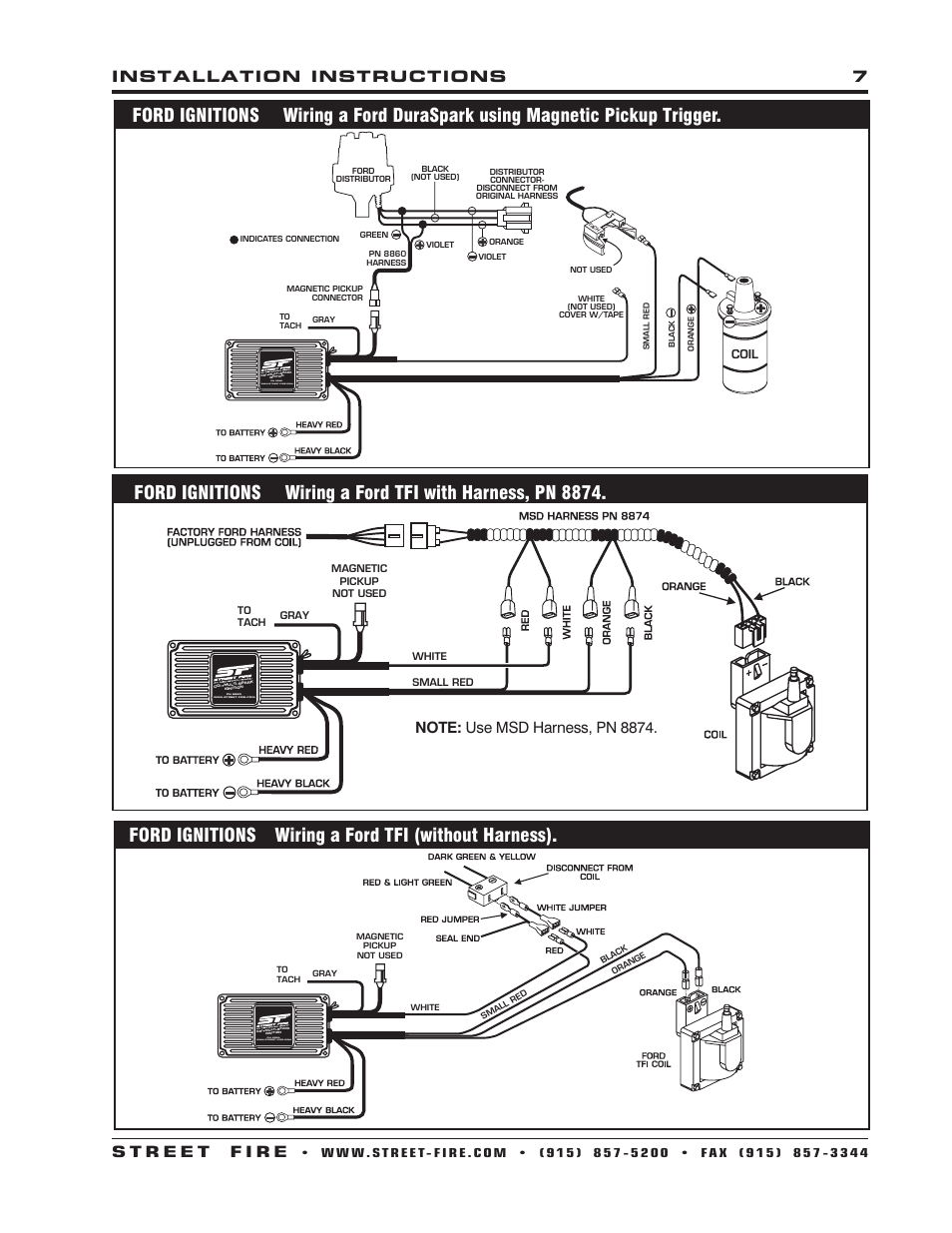 Msd Street Fire Ignition Wiring Diagram Reinvent Your 2wire Distributor 6al Connected To Ford Ignitions A Tfi Without Harness 5520 Rh Manualsdir Com Digital