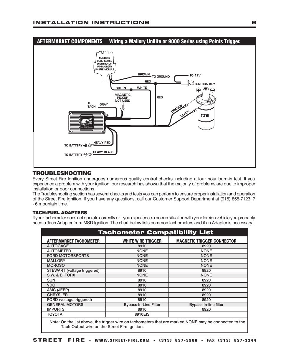 msd 5520 street fire ignition control installation page9 troubleshooting, tachometer compatibility list msd 5520 street firecom intercom wiring diagrams at gsmx.co