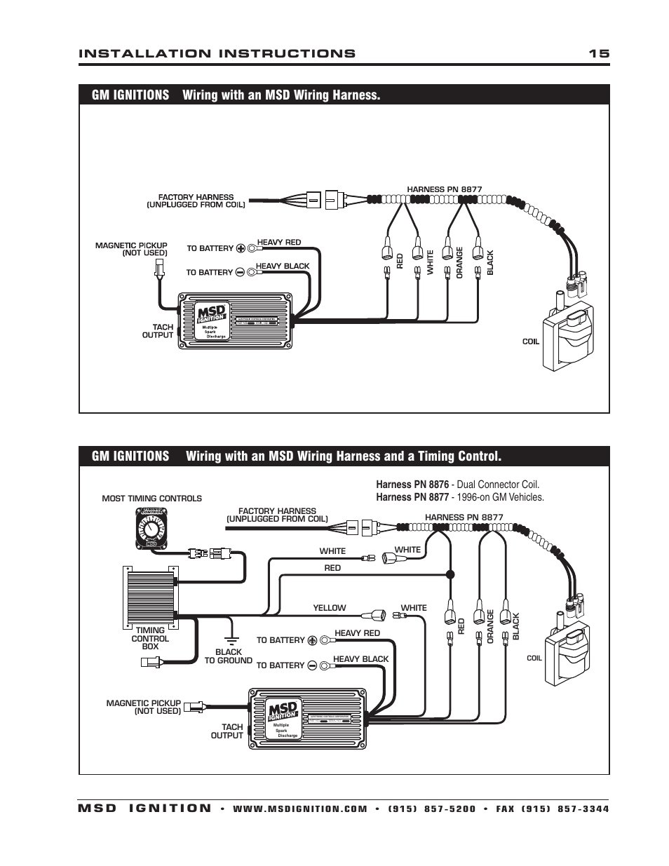 Msd Wiring Harness Library Diagram Pn 6010 Gm Ignitions With An 6430 6aln Ignition Control Installation User