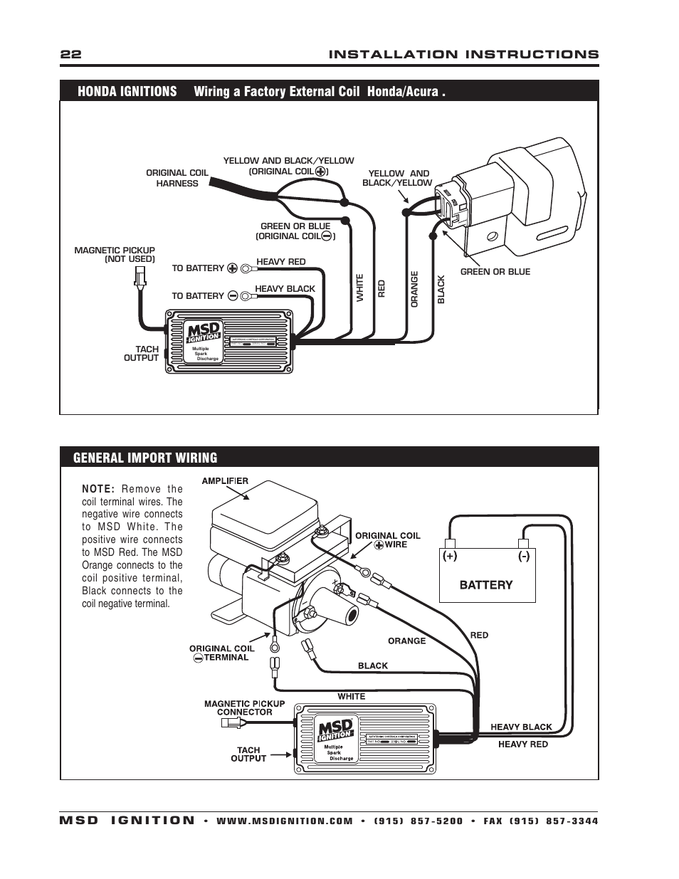 Wiring Diagram Msd 6462 Online Vw Ignition 6430 6aln Control Installation User Manual Page 22 Cdi