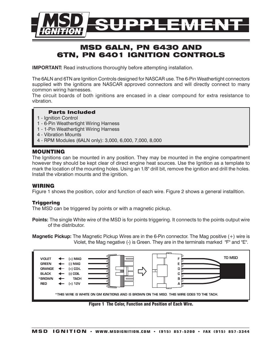 msd 6430 6aln ignition control supplement user manual