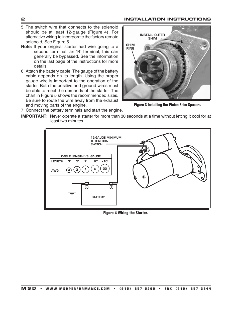 Msd 5093 Dynaforce Starter Ford Fe 390 427 428 Engines 7 3 Wiring Diagram Installation User Manual Page 2 4