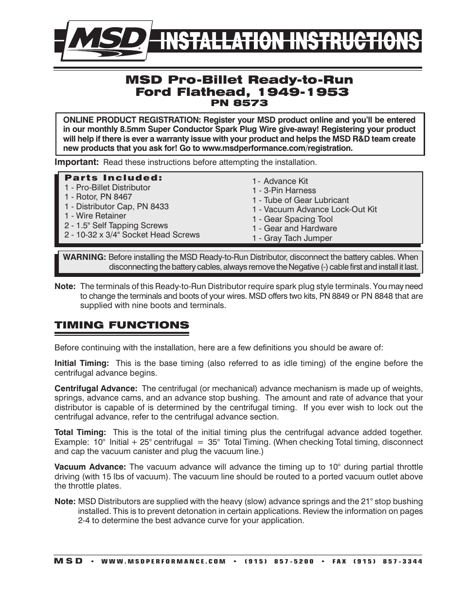 msd 8573 flathead ford ready to run distributor for 49 53 msd 8573 flathead ford ready to run distributor for 49 53 installation user manual 8 pages